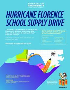 Hurricane Florence School Supply Drive flyer